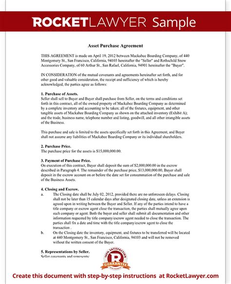 asset purchase agreement form sale purchase sample