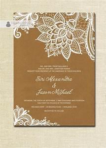 lace wedding invitation kraft shabby chic rustic wedding With diy wedding invitations brown paper