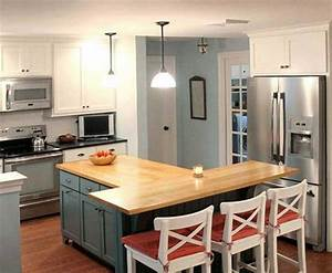 T Shaped Kitchen Island With Wooden Countertop Home