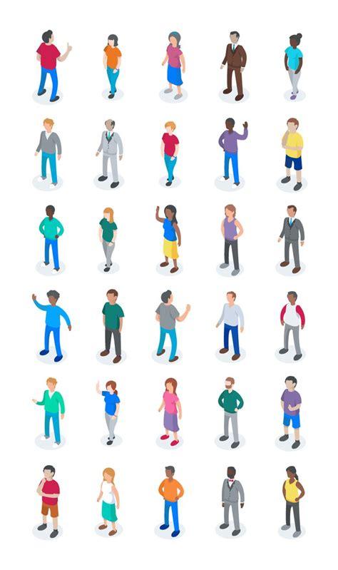 isometric characters  flat shape art   people