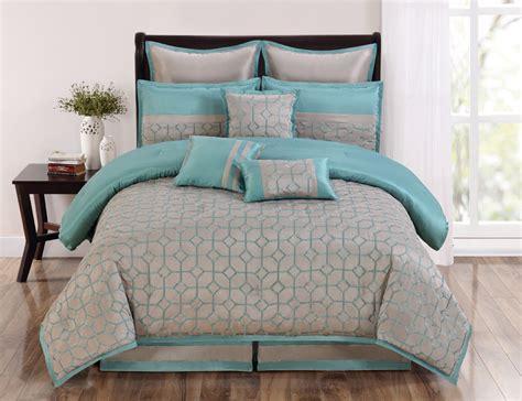 9 piece queen diamante aqua and taupe comforter set ebay