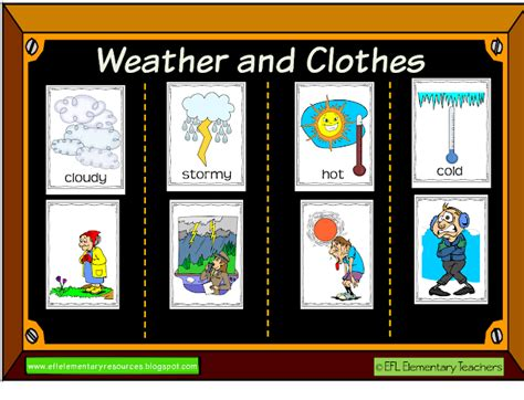 weather  clothes themes   esl learner