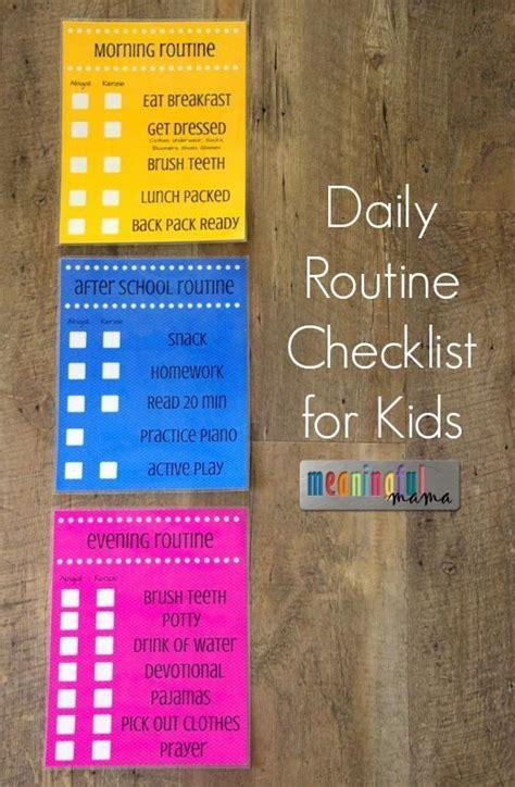 daily routine checklist  kids daily routines running
