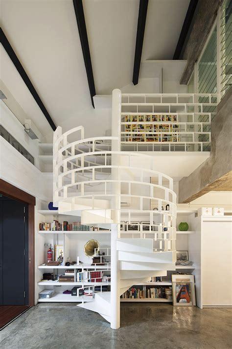 spiral staircase for loft modern industrial loft in singapore gets revitalizing facelift