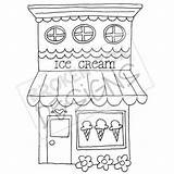 Ice Cream Drawn Drawing Clipart Boutique Coloring Buildings Zeichnen Dibujo Dibujos Drawings Shops Basteln Bakery Disegni Arte Digi Patterns Muster sketch template
