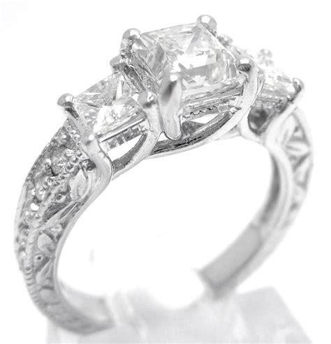 Pri Ess Cut  Ee  Three Ee    Ee  Stone Ee   Antique Style Diamond En Ement