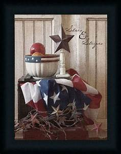 Stars and stripes primitive country flag framed art print