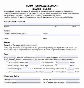sample rental agreement template 8 free documents With house sharing agreement template