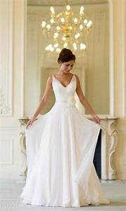 simple v neck chiffon wedding dress for older brides over With wedding dresses for brides over 60