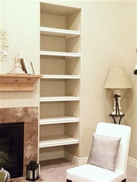 Living Room With Fireplace And Bookshelves by Diy Shelves For An Awkward Alcove For The Home Juxtapost