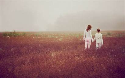 Mother Daughter Mom Wallpapers Nature Walking Son