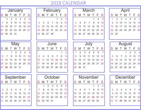 2018 Calendar Template Excel Free 2018 Calendar Excel Template