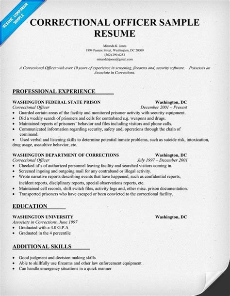 Correctional Officer Resume Objective Sle by Correctional Officer Resume Sle Resumecompanion