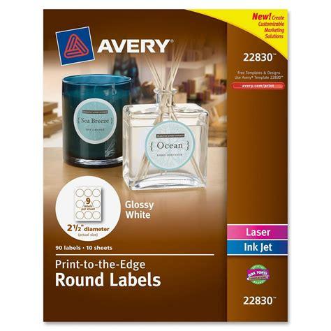 avery  labels gloss white  diameter pack