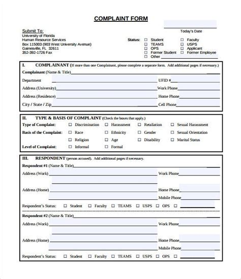 printable employee complaint form template classles