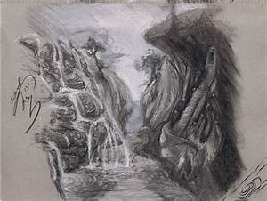 Sketch - Waterfall and Cliffside by Flavoir on DeviantArt
