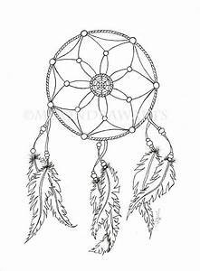 dream catcher printable coloring page adult by With dreamcatcher tattoo template