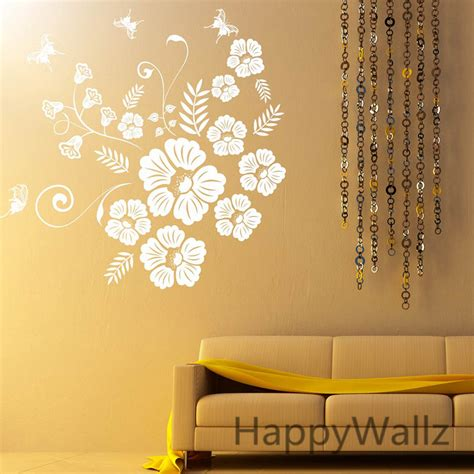 butterfly flowers wall sticker 3d flower butterfly wall decal diy flower wall decors flowers