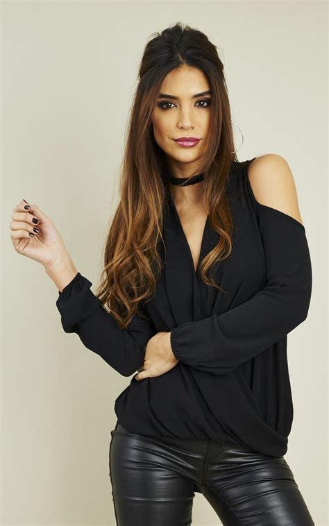 black crepe cold shoulder long sleeve drape top  lilah