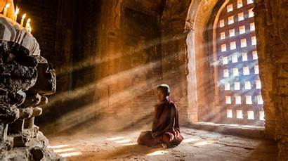 Meditation Boy Nature Temple Monks Buddhism Sun