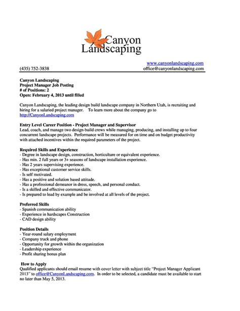 Landscaping Resume Cover Letter by Internship Postings Byu Idaho Horticulture