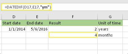 menghitung perbedaan antara dua tanggal excel