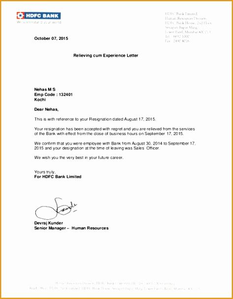 experience certificate letter format  samples