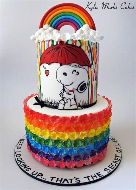rainbow snoopy cake  kylie marks   party