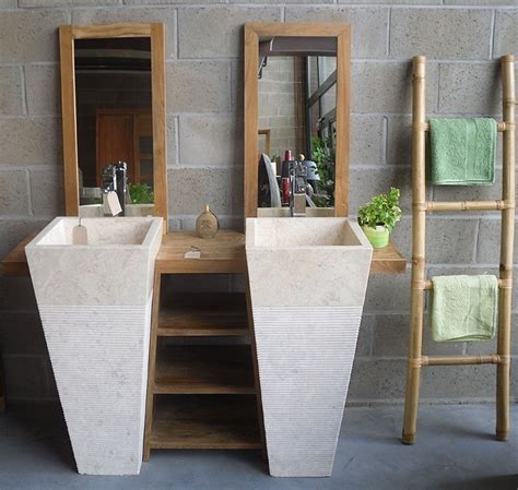 vasque sur pied salle de bain meuble de salle de bain en teck balib