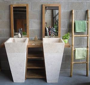 meuble de salle de bain en teck balib With salle de bain design avec vasque sur pied salle de bain