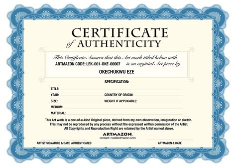 Certificate Of Authenticity Template Coa Certificate Of Authenticity