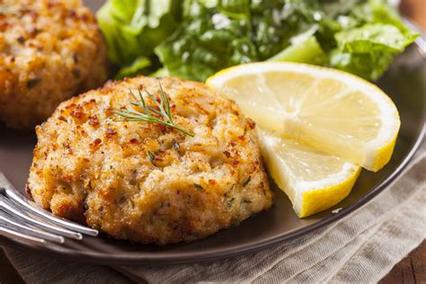 healing meals crab cakes  chopped vegetable salad