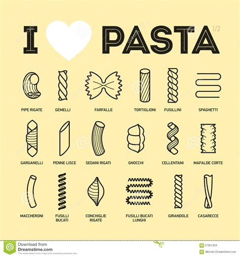 different type de pates images stock different types and names of pasta guide image 57951334