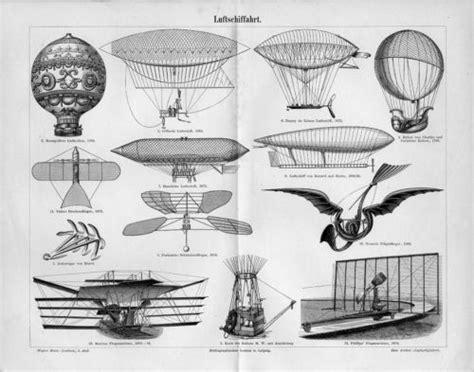 airships plane hot air balloon antique engraving