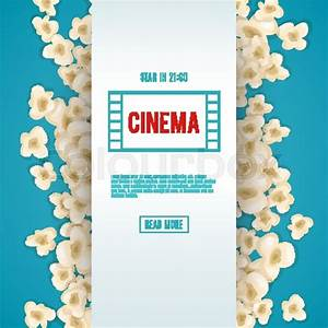 Heap popcorn for movie lies on blue background. Vector ...