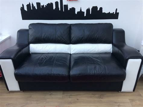 bed settee dfs black white leather sofa bed from dfs in barry