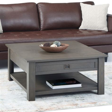 """Shop wayfair for all the best storage coffee tables. Simpli Home Monroe 38"""" Square Storage Coffee Table in Farmhouse Gray 840469040656 
