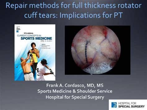 Repair Methods For Full Thickness Rotator Cuff Tears