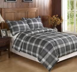 3pc black dark grey plaid flannel feel down alternative comforter set king ebay
