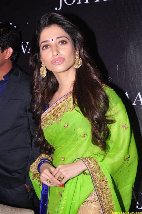 tamanna latest hot navel show stills  green saree