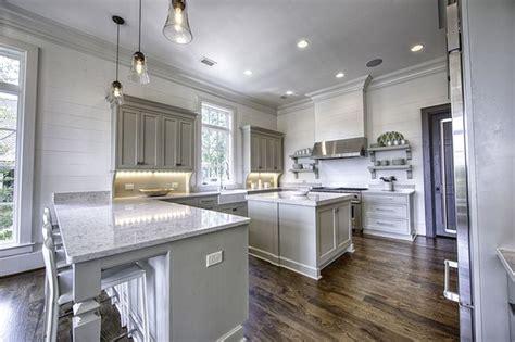 benjamin moore senora gray   white kitchen