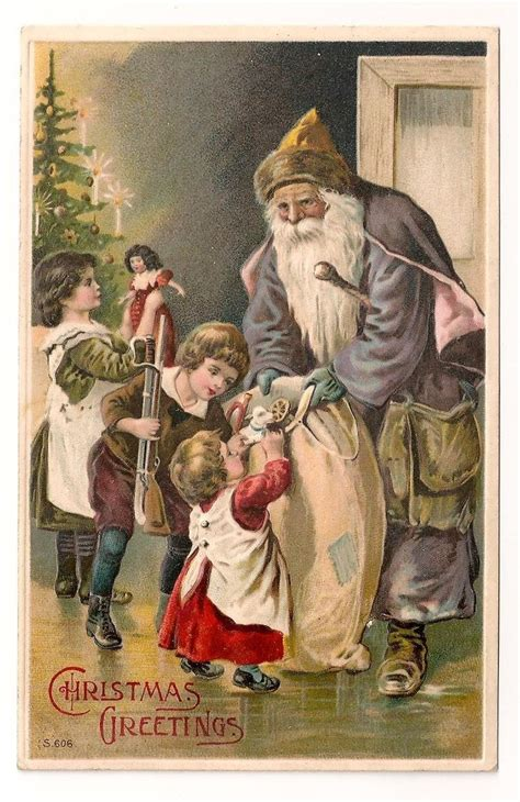 Santa Postcard Giving Toys To From Antique 84 Best Images About Santas Blue Purple On