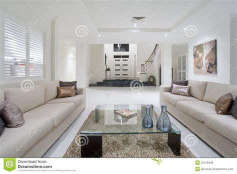 Luxurious White New Living Room Stock Photo  Image Of