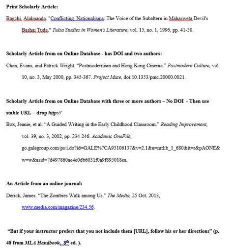 mla formatting works cited website