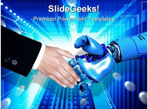 handshake technology powerpoint template  graphics