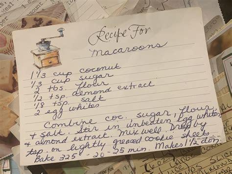 recipe  coconut macaroons written   late grandma