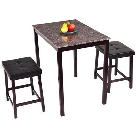 bar height kitchen table sets costway 3 pcs counter height dining set faux marble table