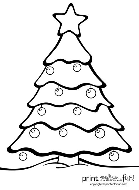 christmas tree  ornaments coloring page print color