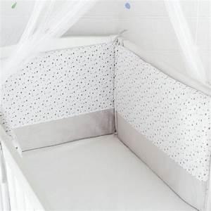 Tour De Lit Gris : soldes tour de lit b b pas cher en velours blanc gris et toiles kinousses ~ Teatrodelosmanantiales.com Idées de Décoration