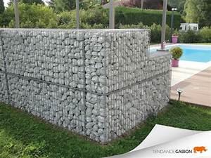 Mur deco en gabion contemporain jardin grenoble for Decoration pour mur exterieur de jardin 11 amenagement exterieur zen contemporain piscine lyon